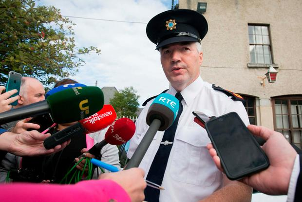 Garda Superintendent Patrick McMenamin speaking to media at Kevin Street Garda Station during a media briefing and witness appeal regarding the murder of Leo Carolan whose body was discovered at a house on South Circular Road. Photo: Gareth Chaney Collins