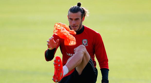 Gareth Bale in training ahead of tonight's game against Austria Picture: Reuters