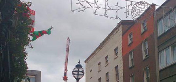 The Christmas lights are already going up in Dublin. Pic: Darragh Doyle / Twitter