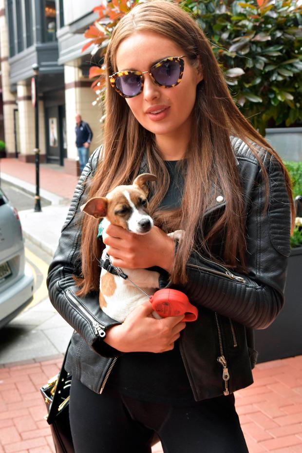 Roz Purcell seen walking her new puppy Wilko at The Westbury Hotel, Dublin