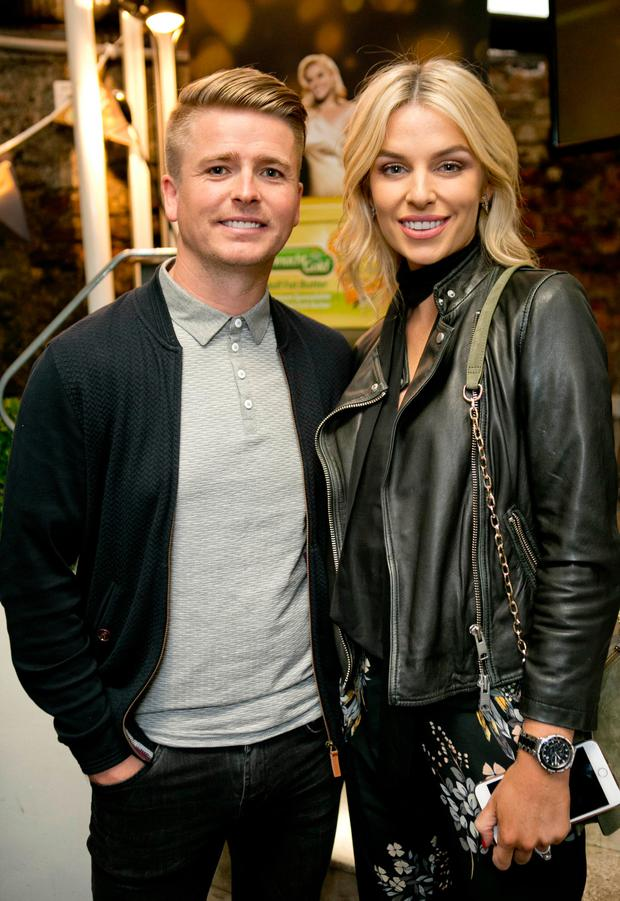 Brian Ormond, left, and Pippa O'Connor, right a the launch of her new Connacht Gold tv ad. Picture: Chris Bellew / Fennell Photography