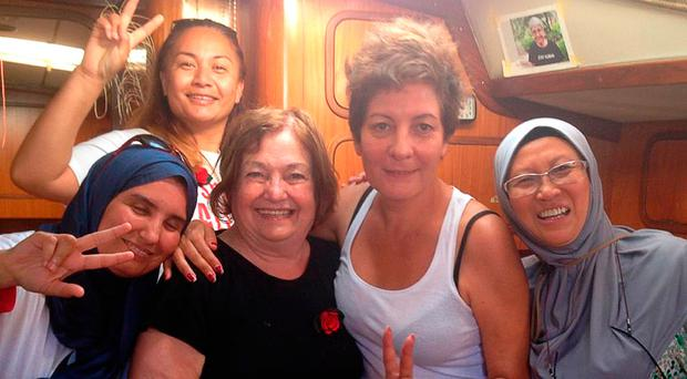 Undated handout photo of (left to right) Algerian MP Samira Douaifia, New Zealand Green Party MP Marama Davidson, Mairead Maguire, Jeannette Escanilla, and Dr Fauziah Hasan from Malaysia on board a boat sponsored by the Freedom Flotilla Coalition, which was on its way to Gaza before being intercepted by the Israeli navy and escorted ashore. Photo: Mairead Maguire/PA Wire