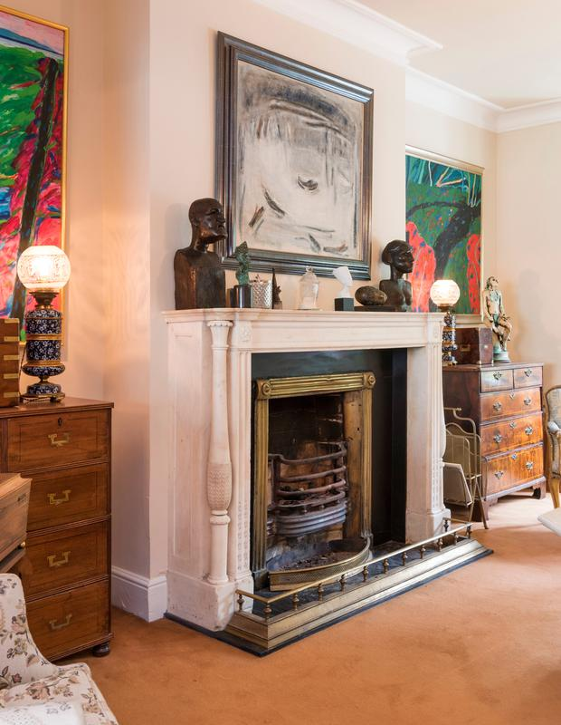 The drawing room's 17th century Irish marble fireplace