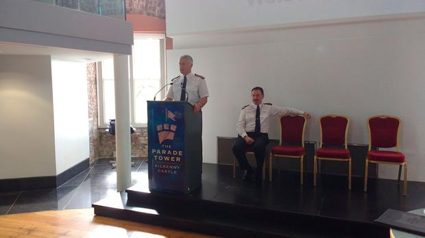 Dominic Hayes and Superintendent Padraig Dunne addressing community engagement forum in Kilkenny Castle. Picture: @Gardainfo