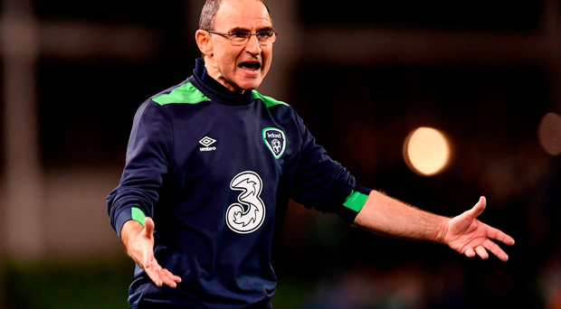 6 October 2016; Republic of Ireland manager Martin O'Neill reacts during during the FIFA World Cup Group D Qualifier match between Republic of Ireland and Georgia at Aviva Stadium, Lansdowne Road in Dublin. Photo by Brendan Moran/Sportsfile