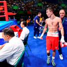 Michael Conlan let ringside judges know exactly what he thought after his controversial defeat by Russian boxer Vladimir Nikitin at the Rio Olympics. Picture: Sportsfile