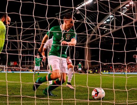 Seamus Coleman taps the ball over the line from very close range to give Ireland the victory against Georgia. Photo: David Maher/Sportsfile