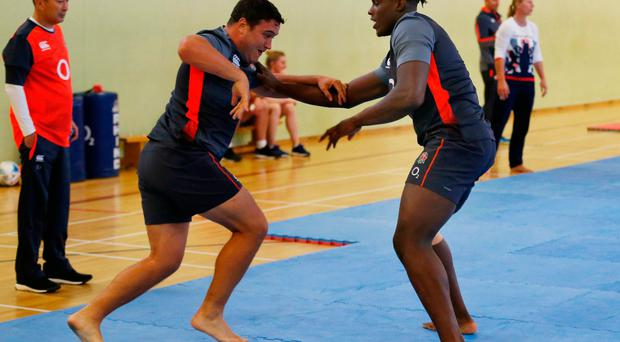 Britain Rugby Union - England Training - Brighton College - 3/10/16 England's Jamie George and Maro Itoje during a judo session watched by head coach Eddie Jones Action Images via Reuters / Matthew Childs Livepic EDITORIAL USE ONLY.