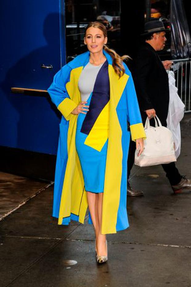 Blake Lively in a Rodsanda dress with her signature Christian Louboutin heels