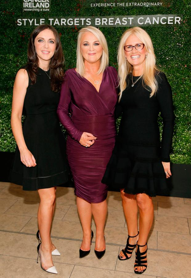 Michelle Curtin, Aisling Hurley and Paula McClean at Paula McClean's Style Targets Breast Cancer event in The RHA Gallery with funds raised going to Breast Cancer Ireland Photo: Kieran Harnett