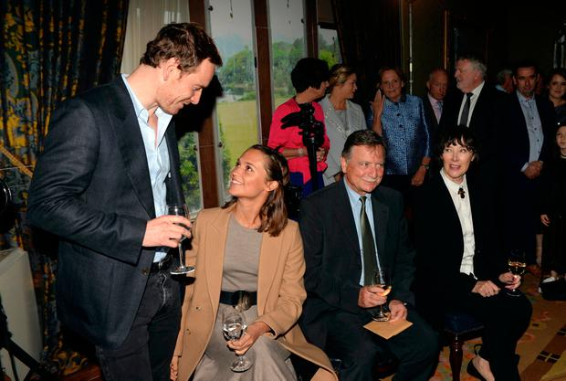 Michael Fassbender with his partner Alicia Vicander and his parents Adele and Josef at a civic reception in Muckross House, Killarney on Friday evening. Photo: Don MacMonagle