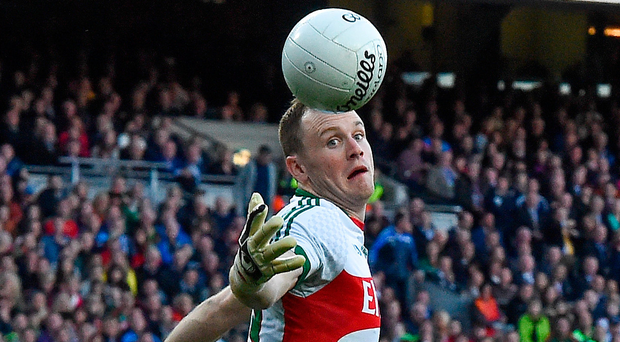 Mayo goalkeeper Rob Hennelly must bounce back from this incident last Saturday in which he fumbled the ball, leading to his black card and Dublin's penalty. Picture: Sportsfile