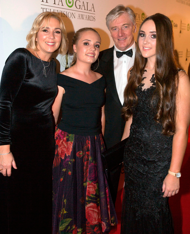 Pat Kenny with his wife Kathy and daughters Nicole and Kristina Photo: Mark Condren