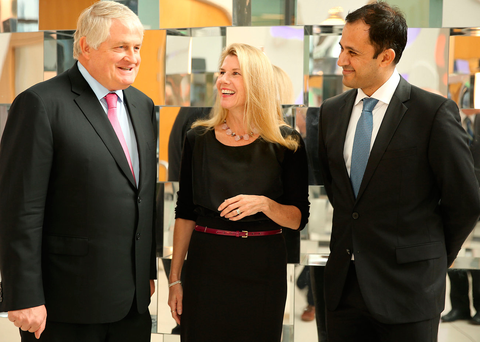 Denis O'Brien, Dr Jennifer Westrup and Ramanan Laxminarayan at the O'Brien lecture in UCD Photo: Gerry Mooney