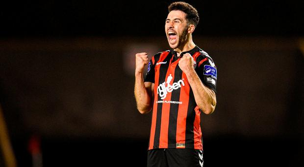 Roberto Lopes of Bohemians celebrates after the SSE Airtricity League Premier Division match between Bohemians and Shamrock Rovers at Dalymount Park in Dublin. Photo by Paul Mohan/Sportsfile