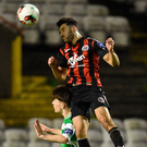 Roberto Lopes soars above Aaron Bolger during last night's match at Dalymount Park. Picture: Sportsfile