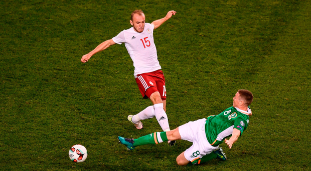 Ireland's James McCarthy slides in ahead of Georgia's Valerian Gvilia during Thursday's World Cup qualifier, when Martin O'Neill's line-up looked promising but the style of play was turgid Photo by Brendan Moran/Sportsfile
