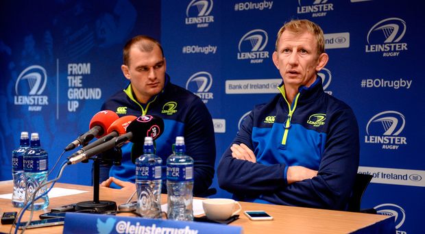 Leinster head coach Leo Cullen, right, and Rhys Ruddock during a press conference Photo by Seb Daly/Sportsfile