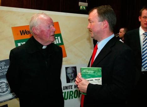 The late Fr Eoghan Haughey - brother of former Taoiseach Charles J Haughey - with his nephew, Deputy Sean Haughey Photo: Collins
