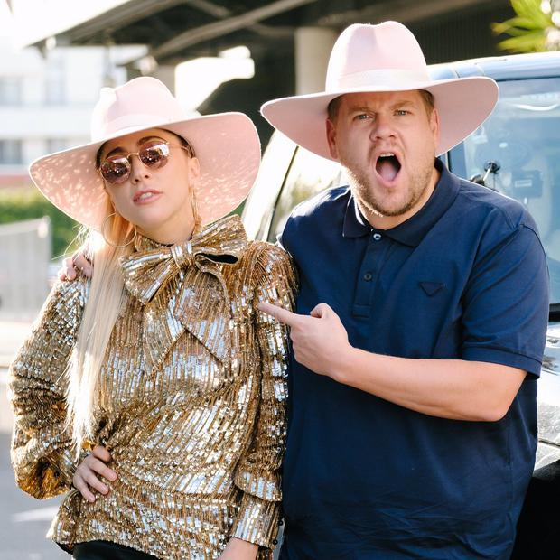 The pair donned pink cowboy hats, while Corden is seen pointing at Gaga with a shocked expression on his face.