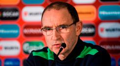 Republic of Ireland manager Martin O'Neill during a press conference at Zimbru Stadium in Chisinau, Moldova. Photo by David Maher/Sportsfile