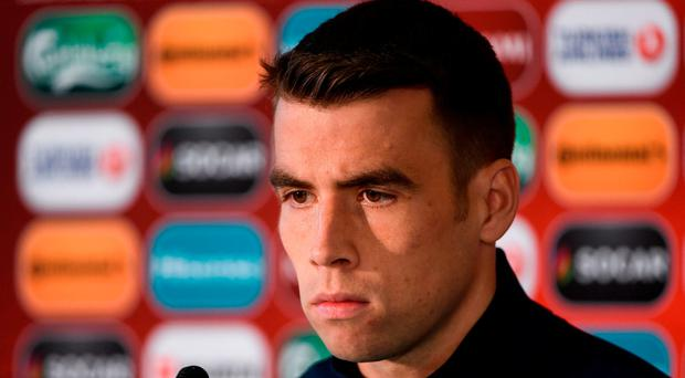 Seamus Coleman of Republic of Ireland during a press conference at Zimbru Stadium in Chisinau, Moldova. Photo by David Maher/Sportsfile