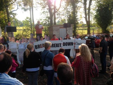 Speakers protest against Brexit vote on the Donegal/Derry border today