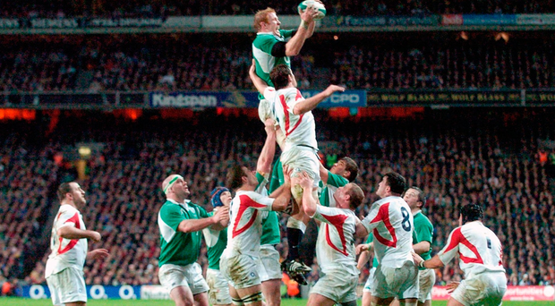 'If I have seen 100 pictures of O'Connell securing the ball at the top of his jump it is not an accident.' — Paul O'Connell wins a lineout against England in Croke Park in 2007. Photo: Brian Lawless/Sportsfile