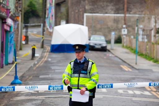 Scene of the stabbing on New Street, Waterford