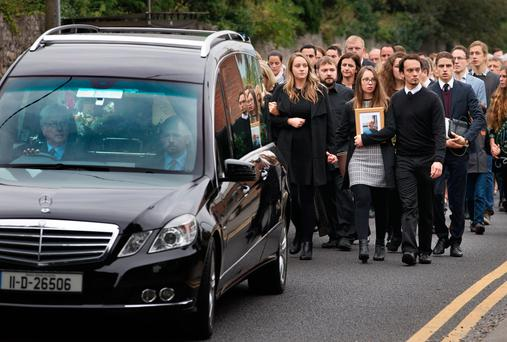 'Family man': Mourners attend Michael McCoy's funeral in St Maelruain's Anglican Church in Tallaght yesterday. Photo: Tony Gavin