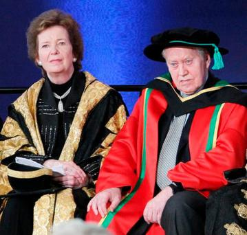 Chuck Feeney, with former President Mary Robinson, at a ceremony to honour the Irish-American philanthropist in Dublin Castle in 2012. Photo: Collins
