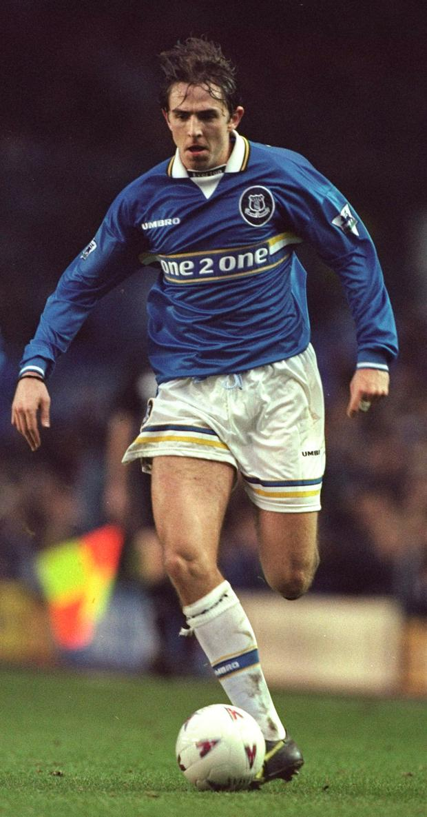 Gareth Farrelly of Everton in action during the FA Carling Premiership match against Wimbledon at Goodison Park in Liverpool, England. The game ended 0-0. Photo: Getty