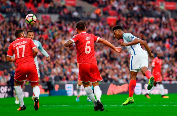 Daniel Sturridge of England scores the opening goal. Photo: Getty