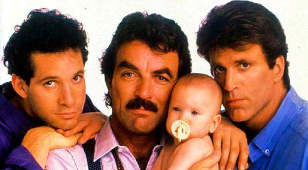 Steve Guttenberg, Tom Selleck and Ted Danson in the 1987 Hollywood movie, 'Three Men and a Baby'
