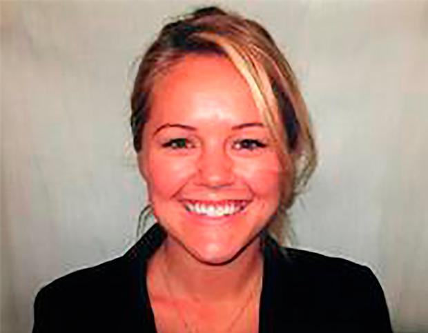 In this undated photo released by the Palm Springs Police Department shows slain officer Lesley Zerebny, 27, who was killed in the line of duty Saturday, Oct. 8, 2016. She was married with a four-month-old daughter. (Palm Springs Police Department via AP)