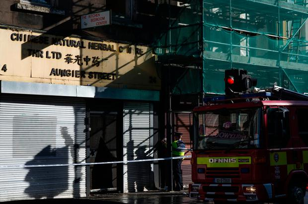 Sunday 09 October 2016. Photo: Douglas O'Connor. Fire on Aungier St. in building on left of scaffolding.