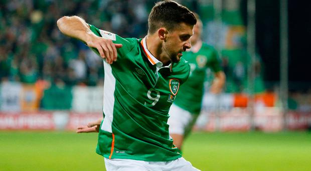 Football Soccer - Moldova v Republic of Ireland - 2018 World Cup Qualifying European Zone - Group D - Stadionul Zimbru, Chisinau, Moldova - 9/10/16 Republic of Ireland's Shane Long celebrates scoring their first goal Reuters / Gleb Garanich Livepic EDITORIAL USE ONLY.