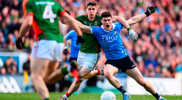 Lee Keegan fouls Diarmuid Connolly in the All-Ireland SFC final replay, resulting in a controversial black card for the Mayo defender. Photo by Stephen McCarthy/Sportsfile