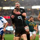 New Zealand's TJ Perenara and Kieran Read celebrate scoring a try. Photo: REUTERS/Rogan Ward
