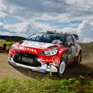 Craig Breen on his way to an extraordinary podium place at the iconic Rally Finland in his Citroen DS3 WRC in July this year. Photo credit: Roni Rekomaa/AFP/Getty Images