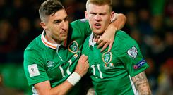Republic of Ireland's James McClean celebrates scoring their second goal with Stephen Ward Picture: Reuters/Gleb Garanich