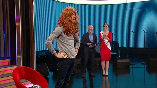 The Ray D'Arcy Show Extras: Lip Sync Battle. Eoghan McDermott and Rose of Tralee, Maggie McEldowney. Pic: RTE