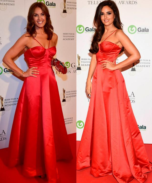 Alison Comyn, left, and Nadia Forde, right wearing the same dress at the IFTAs in 2016 and 2015