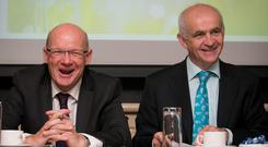 Pat Smith (left) former IFA General Secretary and Eddie Downey, former IFA President.