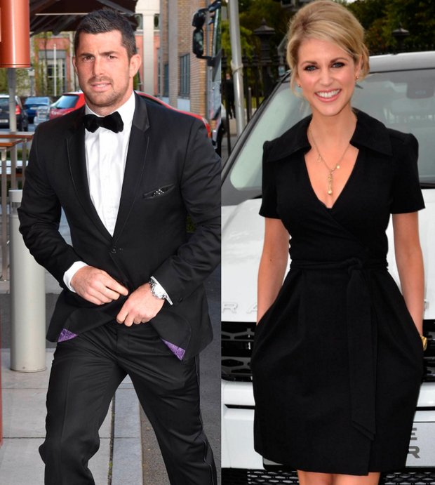 Rob Kearney, left, and Amy Huberman, right