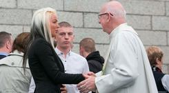 Amanda Gilbert, sister of Tara Gilbert, during a mass to commemorate the victims of the Carrickmines halting site fire that claimed ten lives last year, at Holy Redeemer Parish Church in Bray, Co Wicklow. Photo: Gareth Chaney Collins