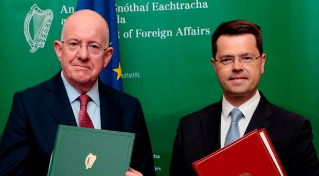Negotiations: Foreign Minister Charlie Flanagan and Northern Ireland Secretary James Brokenshire