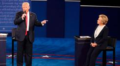 Donald Trump and Hillary Clinton battle it out during their presidential town hall debate at Washington University in St Louis, Missouri Photo: REUTERS/Lucy Nicholson