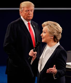 Donald Trump behaved like a wounded animal, stalking around the stage and lashing out Photo: AP Photo/John Locher