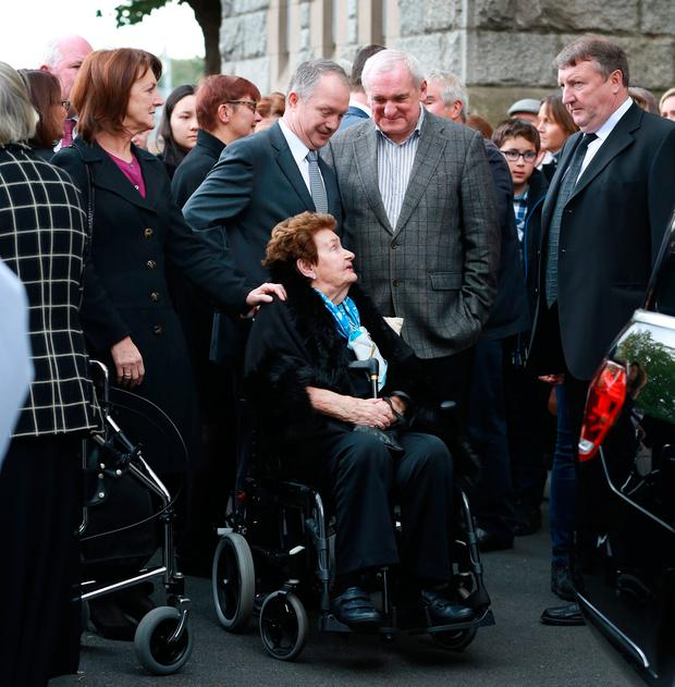 Charles Haughey's widow Maureen with son Sean and former Taoiseach Bertie Ahern at the funeral of her brother-in-law. Photo: Frank McGrath